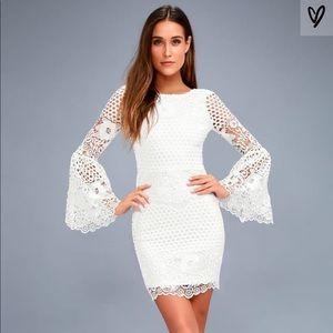 Lulus Angelisa white lace long sleeve white dress